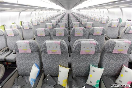 Inside it gets even cuter - there are more than 100 Hello Kitty in flight items