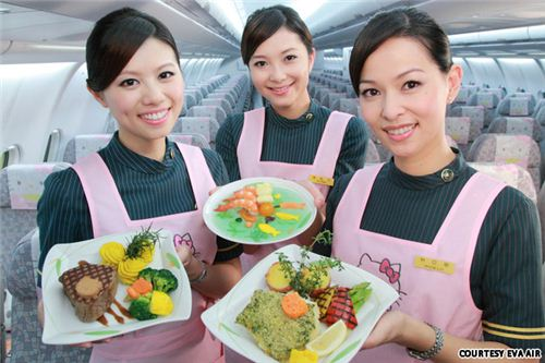 The food is almost too cute to eat and all flight attendants wear Hello Kitty aprons