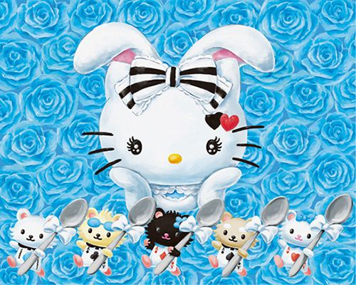 In wonderland Hello Kitty is transformed into a white bunny.