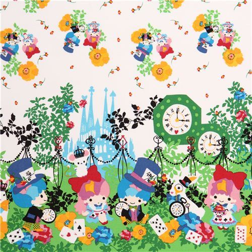 double border Little Twin Stars Alice in Wonderland Sanrio oxford fabric Japan