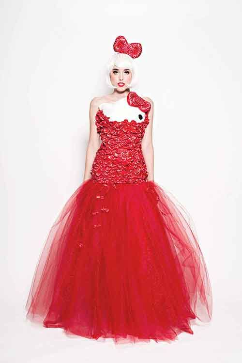 Hello Kitty has never looked more beautiful. The dress really expresses her character.