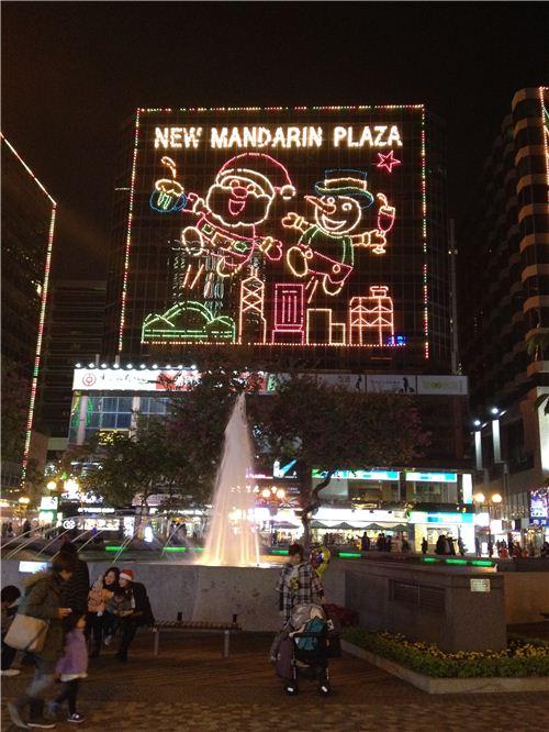 Super cute Xmas lights at New Mandarin Plaza with Hong Kong designs
