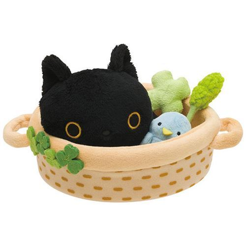 black cat animal kitty bed bird clover plush toy