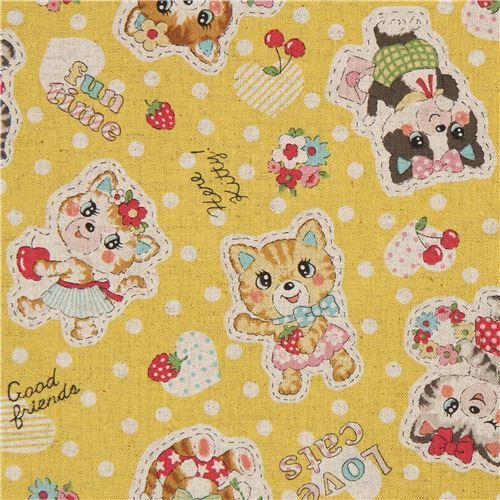 yellow Canvas fabric with cat animal dot Kokka Japan