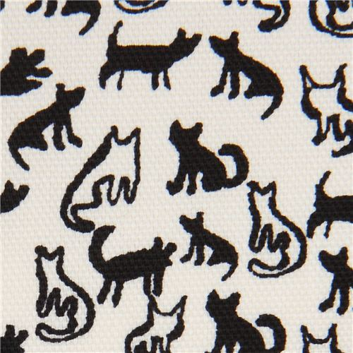 cream Oxford fabric small black cat animal from Japan