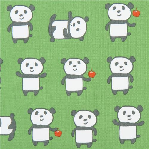 green with cute funny panda animal oxford fabric from Japan