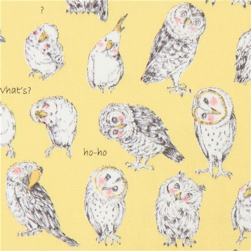 owl budgie bird animal yellow oxford fabric by Kokka