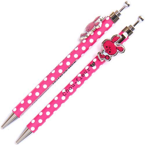 cute pink Chou-fleur Ballpoint pen with rabbit clip