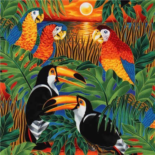 colourful tropical birds fabric parrot Robert Kaufman