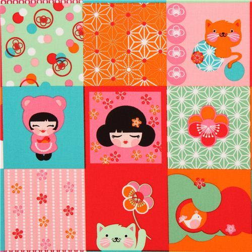 Patchwork kawaii Kokeshi doll fabric by Robert Kaufman USA