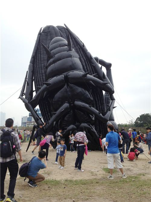 How spooky: A huge dead inflatable coackroach
