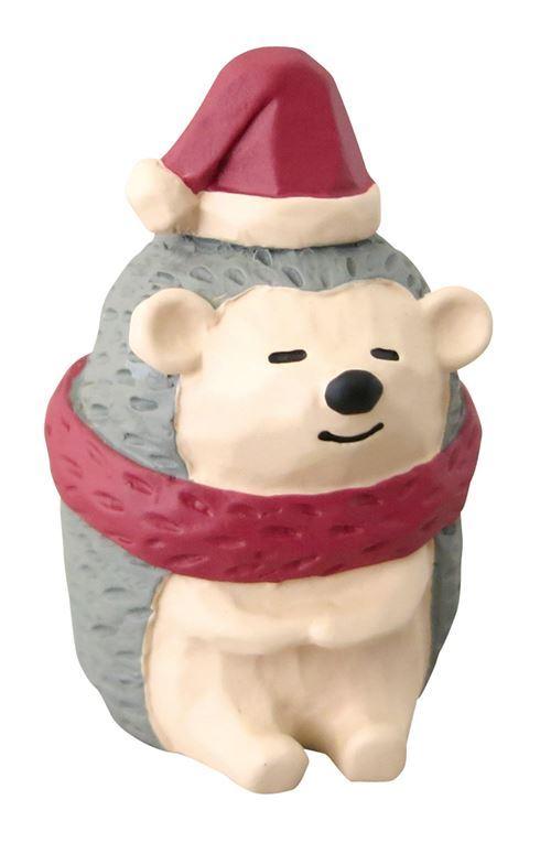 hedgehog with Santa hat red scarf Christmas figurine Japan