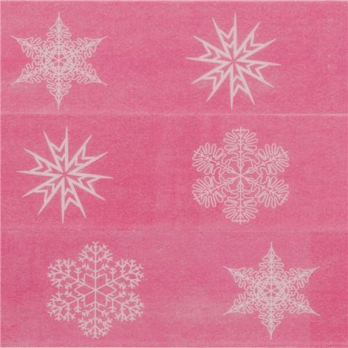 hot pink with snowflake Washi Masking Tape deco tape