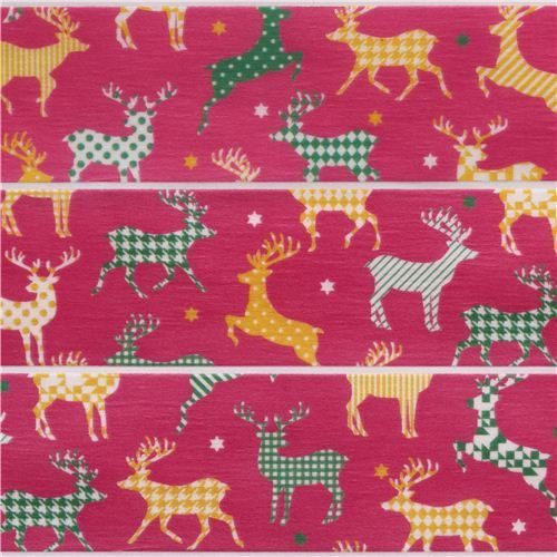 pink red reindeer and stars Christmas mt Washi deco tape