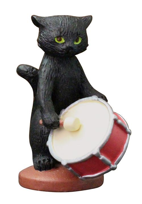 black cat with drum music instrument figurine from Japan