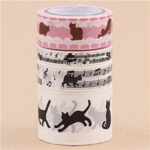 cute craft tape set black cat animal music note from Japan