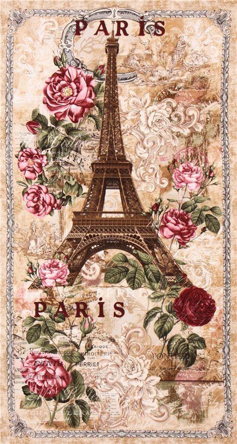 beige Paris Eiffel Tower roses panel Vintage fabric Timeless Treasures