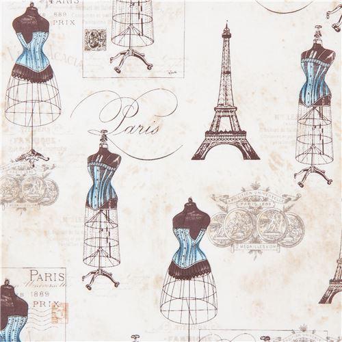 cream beige Robert Kaufman blue mannequin Eiffel Tower fabric City of Lights