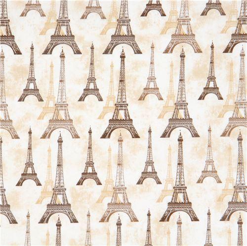 cream beige Robert Kaufman brown beige Eiffel Tower fabric City of Lights