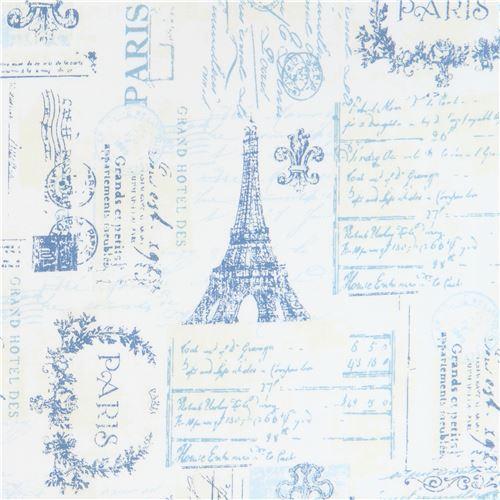 cream light cream Robert Kaufman blue Paris word key fabric City of Lights