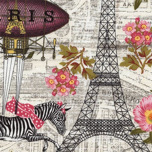 light cream fabric with Eiffel Tower zebra flower by Timeless Treasures