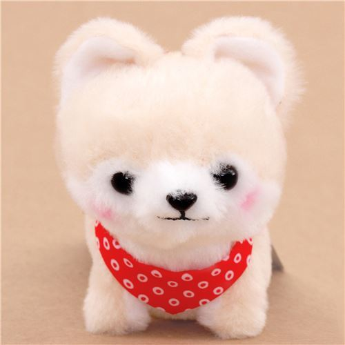 cream dog with red white scarf Mameshiba San Kyodai plush toy from Japan