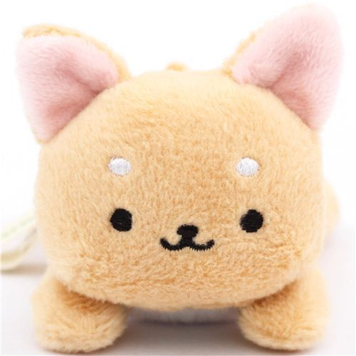 cute small beige Iiwaken dog plush toy with collar lying down