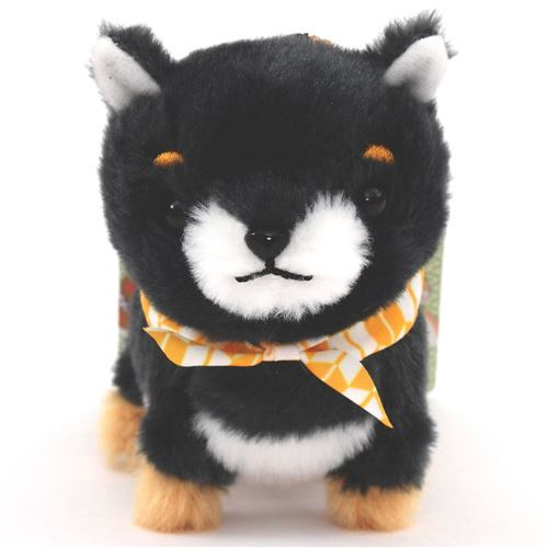dark grey dog with yellow white scarf Mameshiba San Kyodai plush toy from Japan
