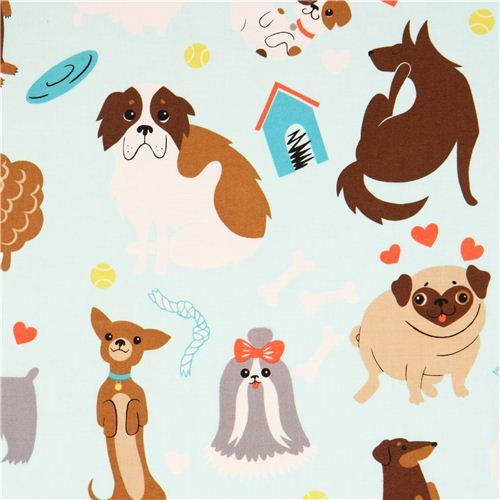 light blue Alexander Henry dog animal fabric