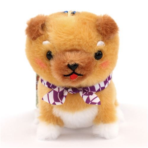 light brown dog and purple white scarf Mameshiba San Kyodai plush toy from Japan
