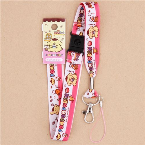 white pink Pompompurin dog animal food lanyard