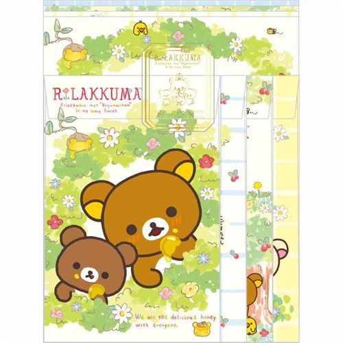 cute Rilakkuma bear flower honey Letter Paper Set by San-X