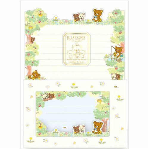 cute Rilakkuma flower windowed envelope Letter Paper Set by San-X