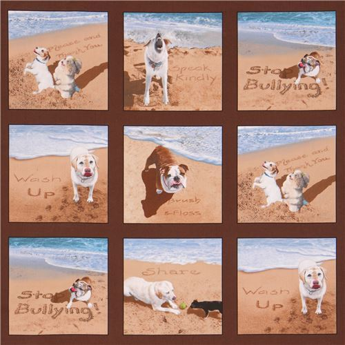 brown cute dog at beach square Sand Scribbles fabric by Elizabeth's Studio
