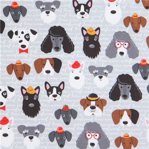 grey Robert Kaufman fabric funny cute dog and text Classy Canines