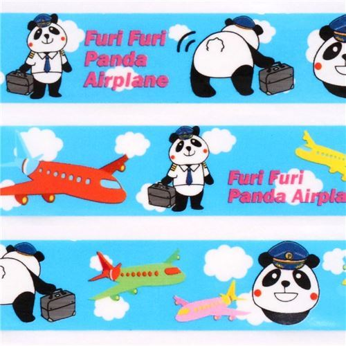 blue panda bear plane pilot deco tape sticky tape from Japan by Prime Nakamura