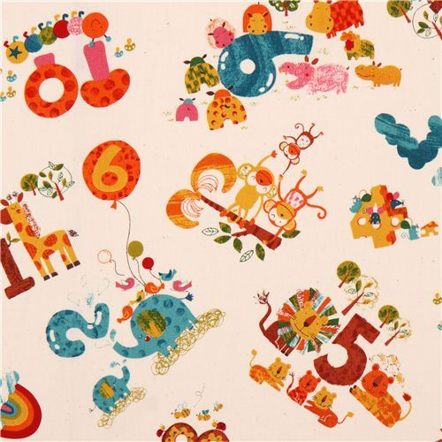 cream counting Safari animals cotton fabric from Japan