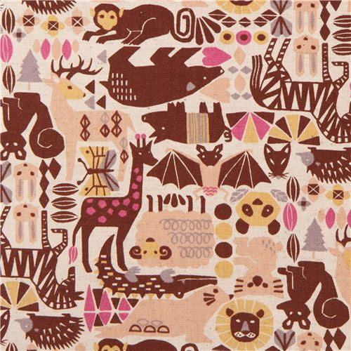 natural colored animal Geo design Canvas fabric from Japan