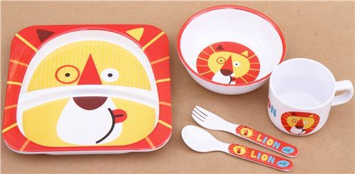 red white Lunch set Bento set with lion from Japan