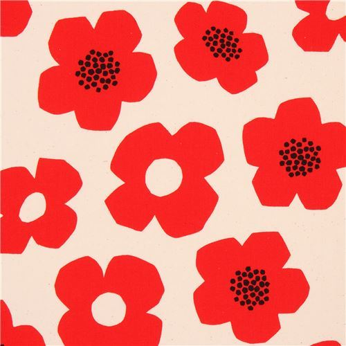 natural color cute red flower laminate fabric by Kokka