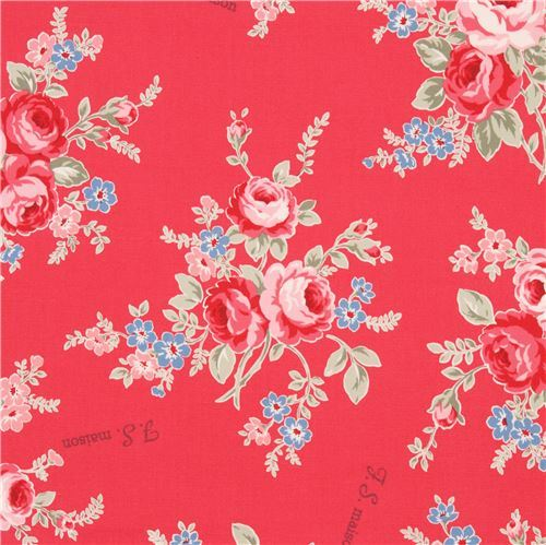 red with pink blue flower laminate fabric by Lecien