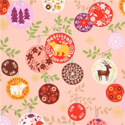 peach oxford fabric colorful animal Christmas ornament gold metallic by Kokka