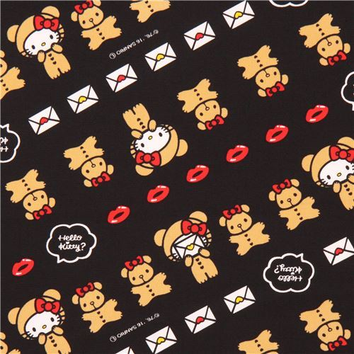 black Hello Kitty teddy bear lips letter oxford fabric