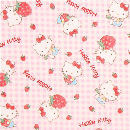 checkered light purple white Hello Kitty strawberry oxford fabric