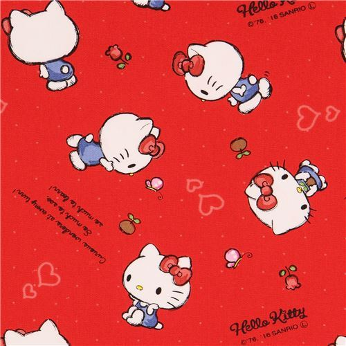 red Hello Kitty small flower butterfly mini dot oxford fabric
