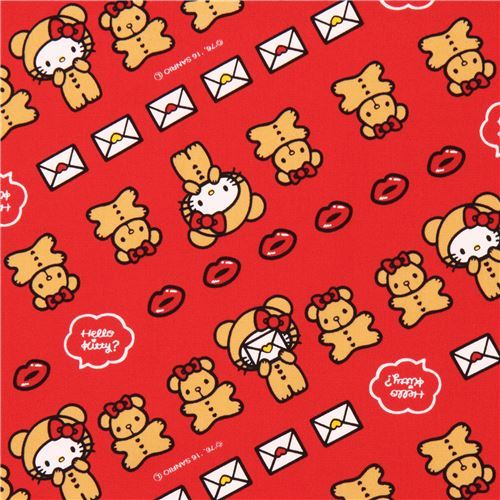 red Hello Kitty teddy bear lips laminate fabric Sanrio Japan