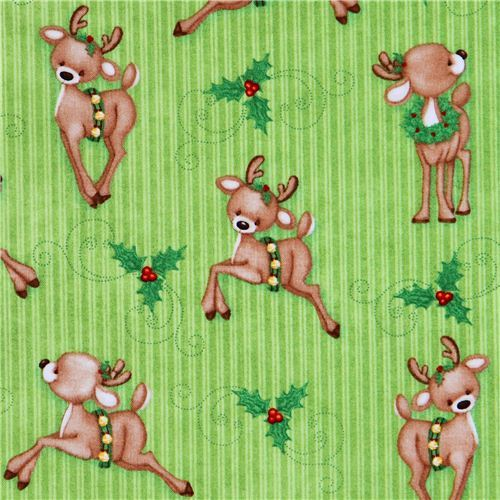cute green reindeer mistletoe winter animals Christmas fabric