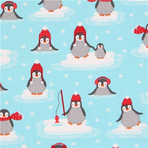 light blue Robert Kaufman fabric cute penguin on ice Polar Pals