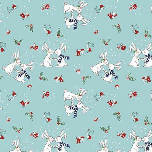 blue Riley Blake fabric Christmas rabbit bird mushroom Pixie Noel