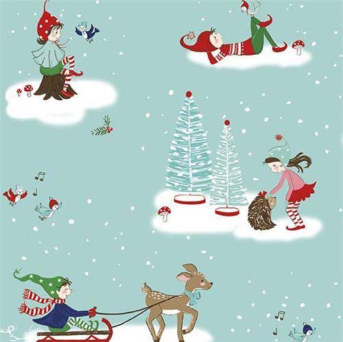 blue Riley Blake fabric children tree bird deer Pixie Noel